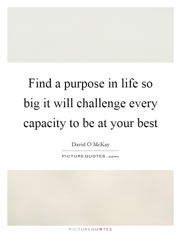 Find a purpose in life so big it will challenge every capacity to be at your best Picture Quote #1