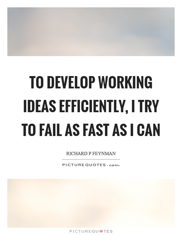 To develop working ideas efficiently, I try to fail as fast as I can Picture Quote #1