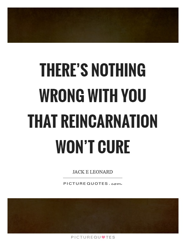 There's nothing wrong with you that reincarnation won't cure Picture Quote #1
