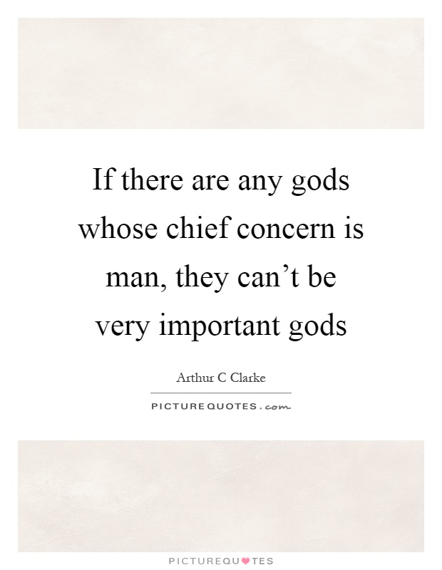 If there are any gods whose chief concern is man, they can't be very important gods Picture Quote #1