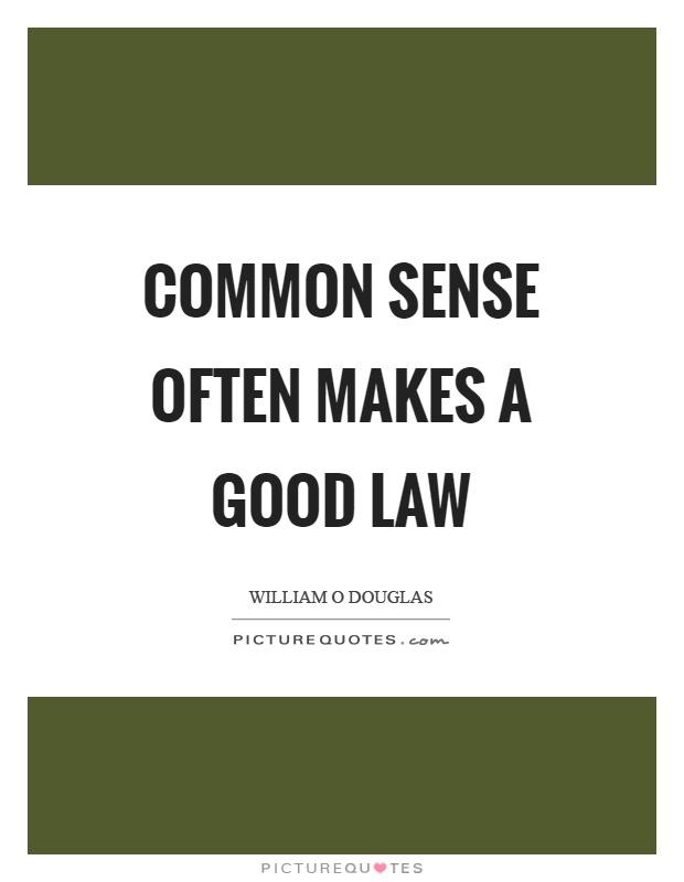 Common sense often makes a good law Picture Quote #1