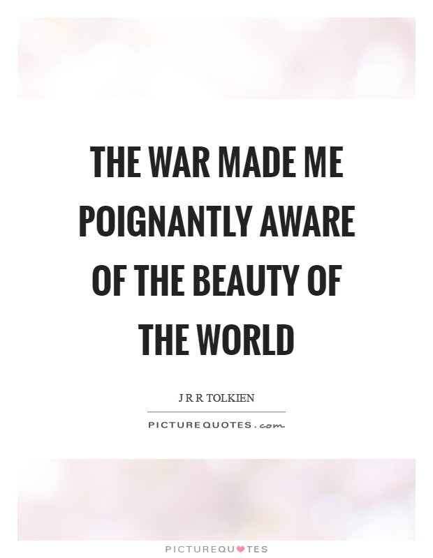 The war made me poignantly aware of the beauty of the world Picture Quote #1