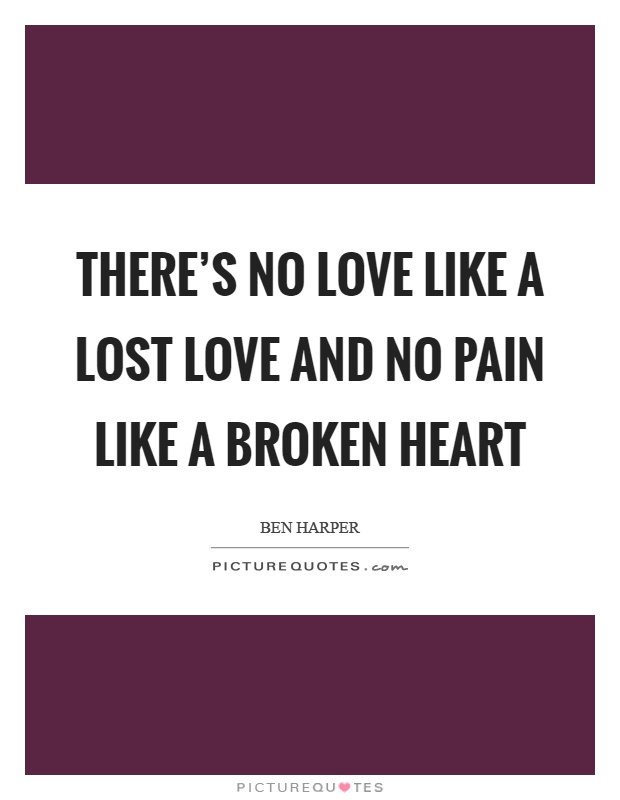 There's no love like a lost love and no pain like a broken heart Picture Quote #1