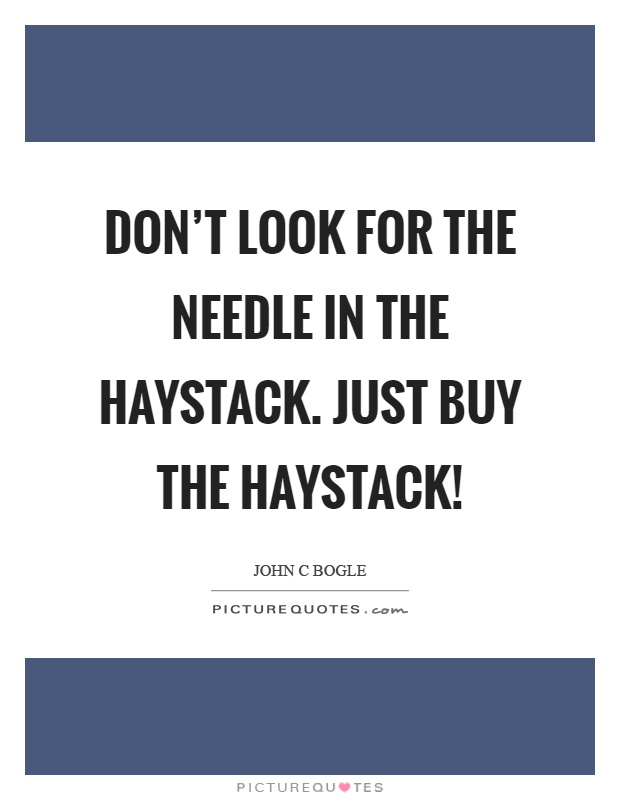 Don't look for the needle in the haystack. Just buy the haystack! Picture Quote #1