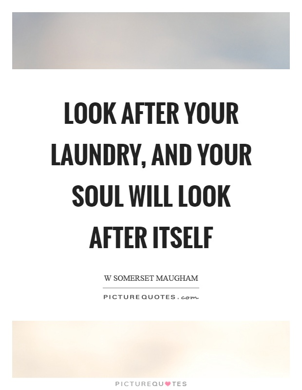 Look after your laundry, and your soul will look after itself Picture Quote #1