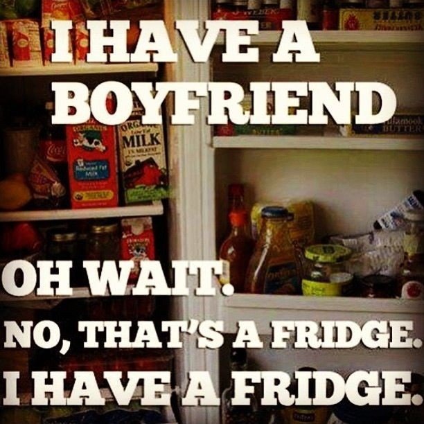 I have a boyfriend. Oh wait. No, that's a fridge. I have a fridge Picture Quote #1