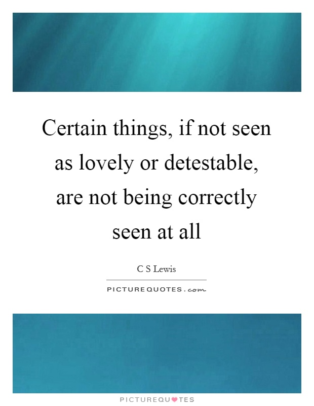 Certain things, if not seen as lovely or detestable, are not being correctly seen at all Picture Quote #1