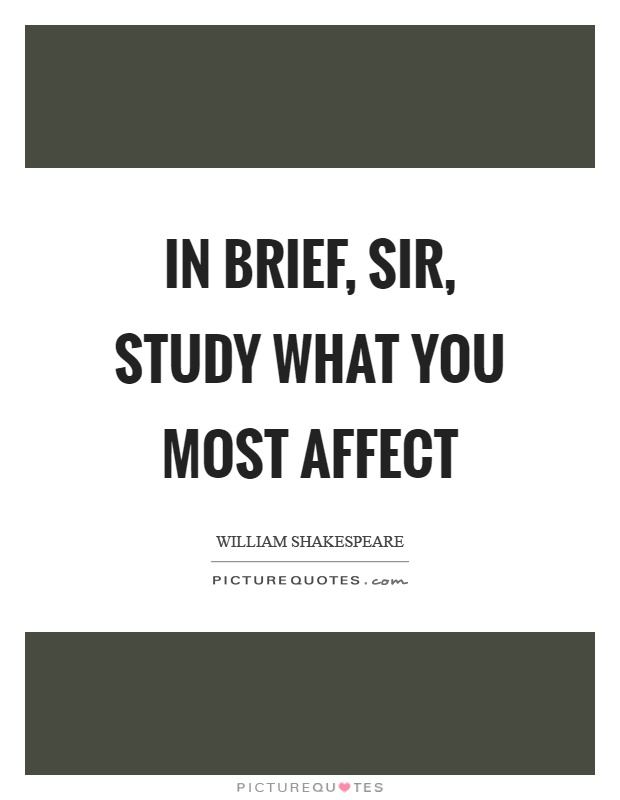 In brief, sir, study what you most affect Picture Quote #1
