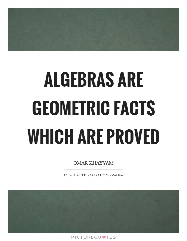 Algebras are geometric facts which are proved Picture Quote #1