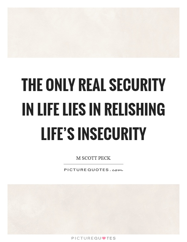 The only real security in life lies in relishing life's insecurity Picture Quote #1