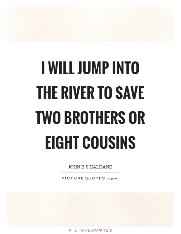 I will jump into the river to save two brothers or eight cousins Picture Quote #1