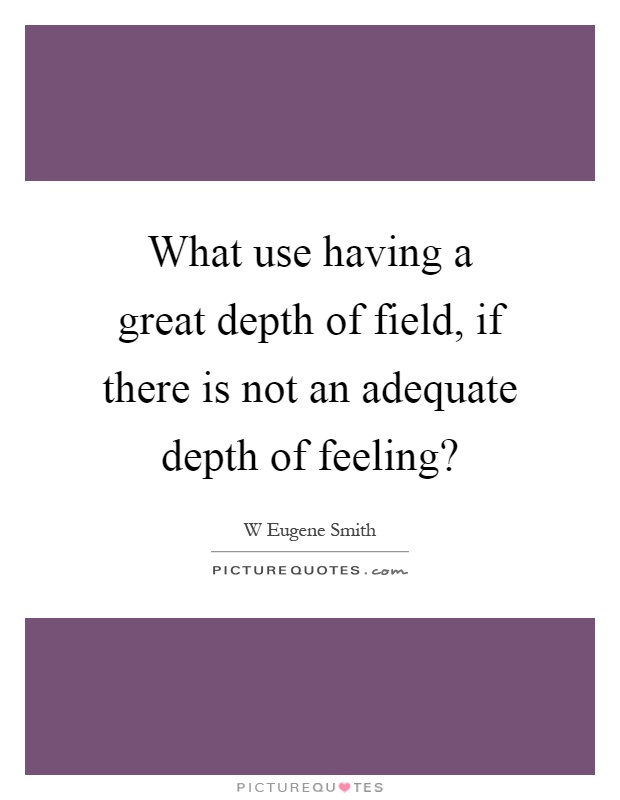 What use having a great depth of field, if there is not an adequate depth of feeling? Picture Quote #1