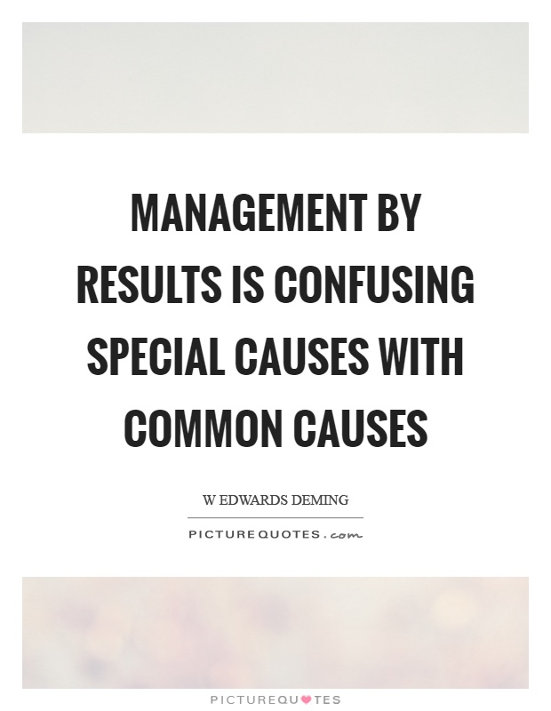 Management by results is confusing special causes with common causes Picture Quote #1