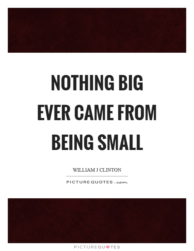 Nothing big ever came from being small Picture Quote #1