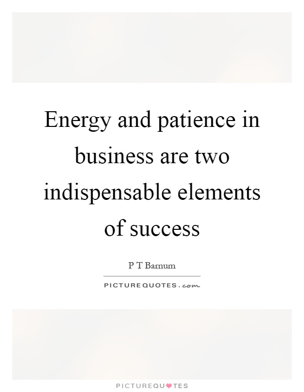 Energy and patience in business are two indispensable elements of success Picture Quote #1
