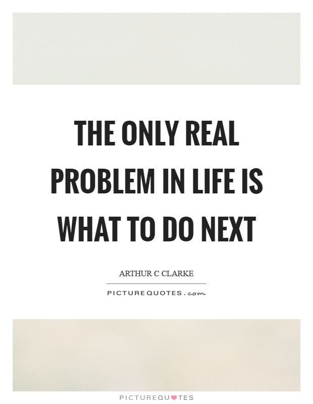 The only real problem in life is what to do next Picture Quote #1