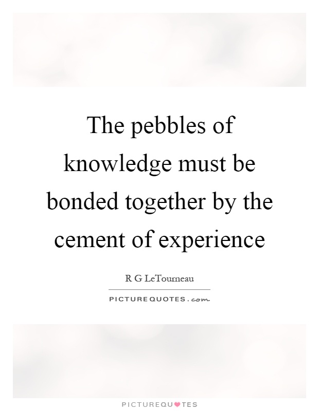 The pebbles of knowledge must be bonded together by the cement of experience Picture Quote #1