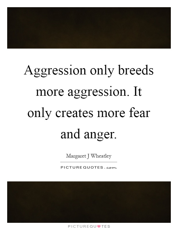 Aggression only breeds more aggression. It only creates more fear and anger Picture Quote #1