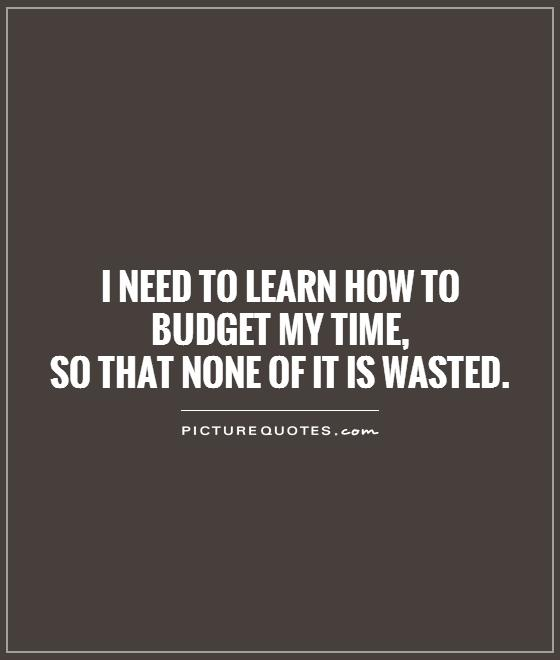 I need to learn how to budget my time,  so that none of it is wasted Picture Quote #1