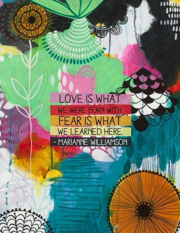 Love is what we were born with. Fear is what we learned here Picture Quote #1