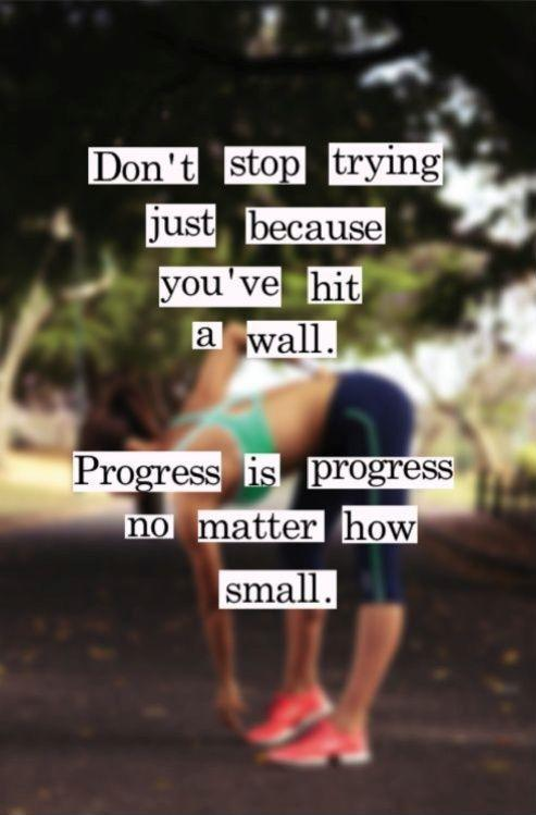 don't stop trying just because you've hit a wall. Progress is progress no matter how smalll Picture Quote #1