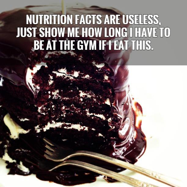 Nutrition facts are useless,  just show me how long I have to  be at the gym if I eat this.   Picture Quote #1