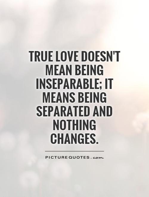 True love doesn't mean being inseparable; it means being separated and nothing changes Picture Quote #1