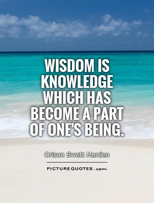 Wisdom is knowledge which has become a part of one's being Picture Quote #1