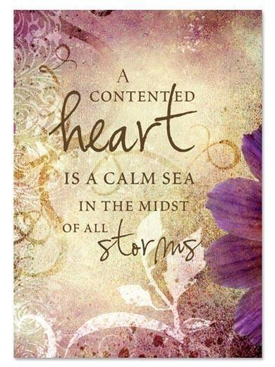 A contented heart is a calm sea in the midst of all storms Picture Quote #1