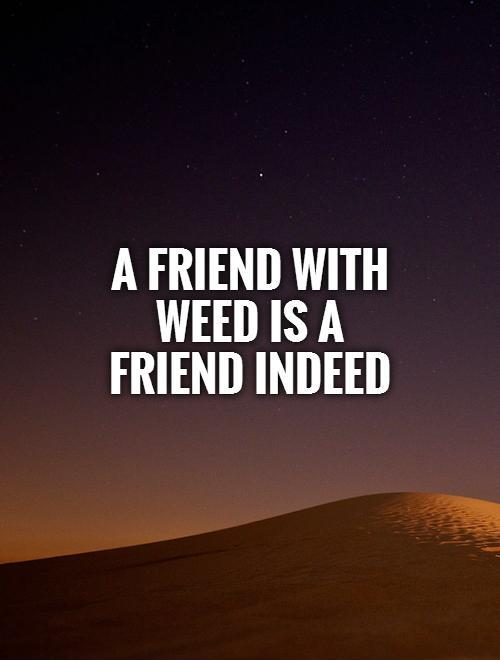 A friend with weed is a friend indeed Picture Quote #1