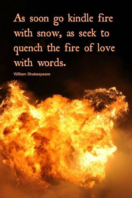 As soon go kindle fire with snow, as seek to quench the fire of love with words Picture Quote #1