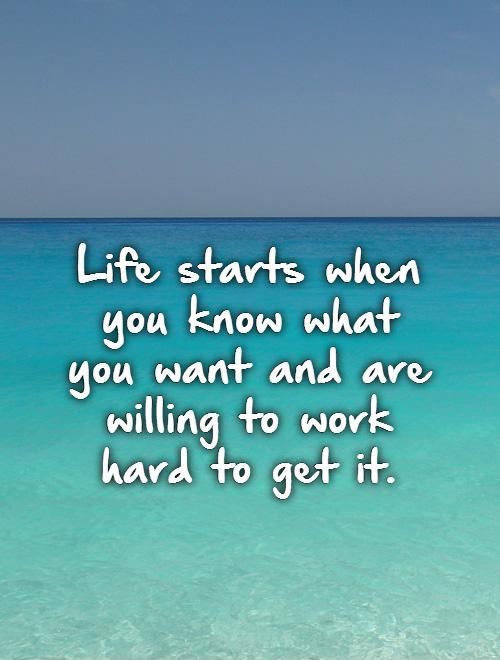 Life starts when you know what  you want and are willing to work  hard to get it Picture Quote #1