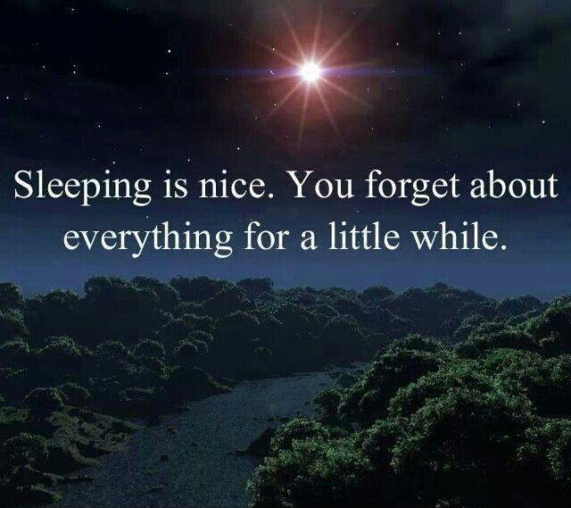 Sleeping is nice. You forget about everything for a little while Picture Quote #1