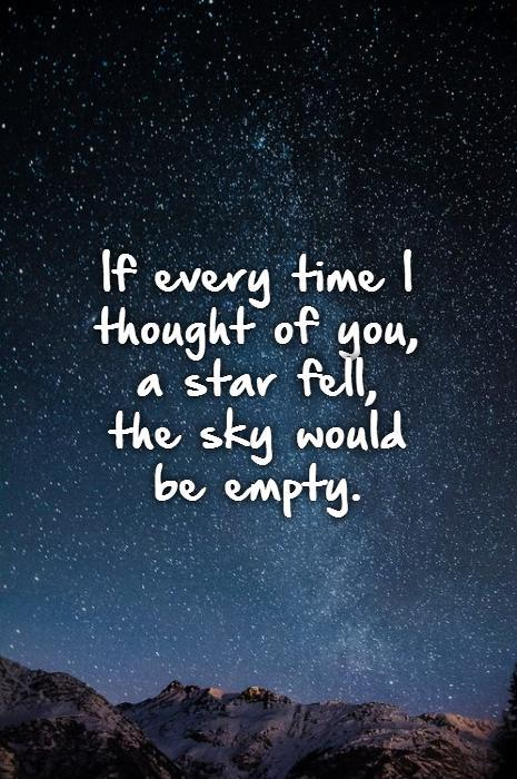If every time I thought of you,  a star fell,  the sky would  be empty Picture Quote #1