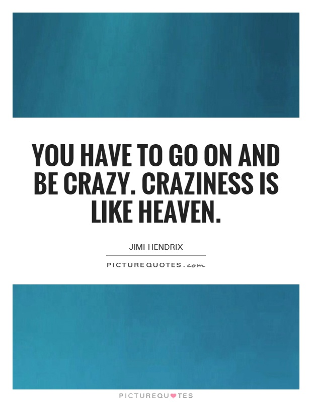 You have to go on and be crazy. Craziness is like heaven Picture Quote #1