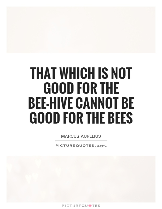 That which is not good for the bee-hive cannot be good for the bees Picture Quote #1