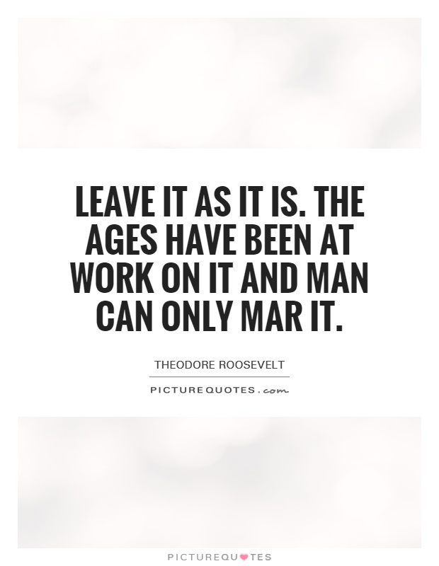 Leave it as it is. The ages have been at work on it and man can only mar it Picture Quote #1