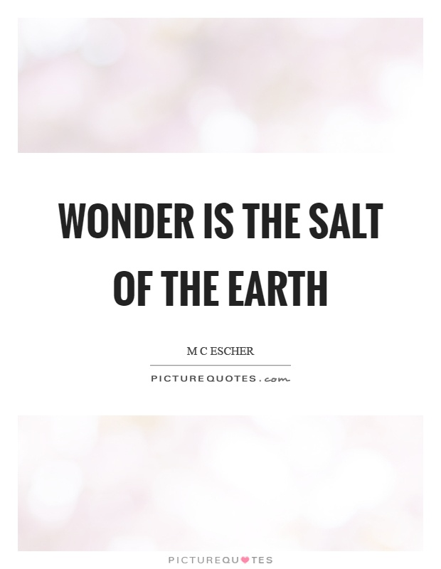 Wonder is the salt of the earth Picture Quote #1