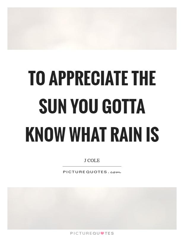 To appreciate the sun you gotta know what rain is Picture Quote #1