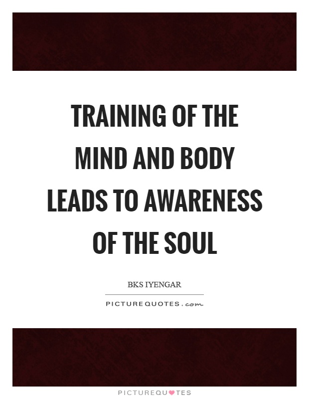 Training of the mind and body leads to awareness of the soul Picture Quote #1