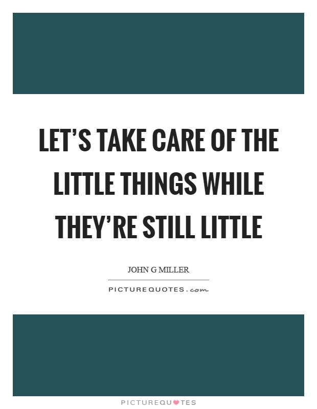 Let's take care of the little things while they're still little Picture Quote #1