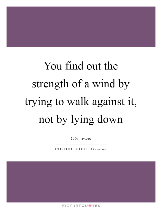 You find out the strength of a wind by trying to walk against it, not by lying down Picture Quote #1