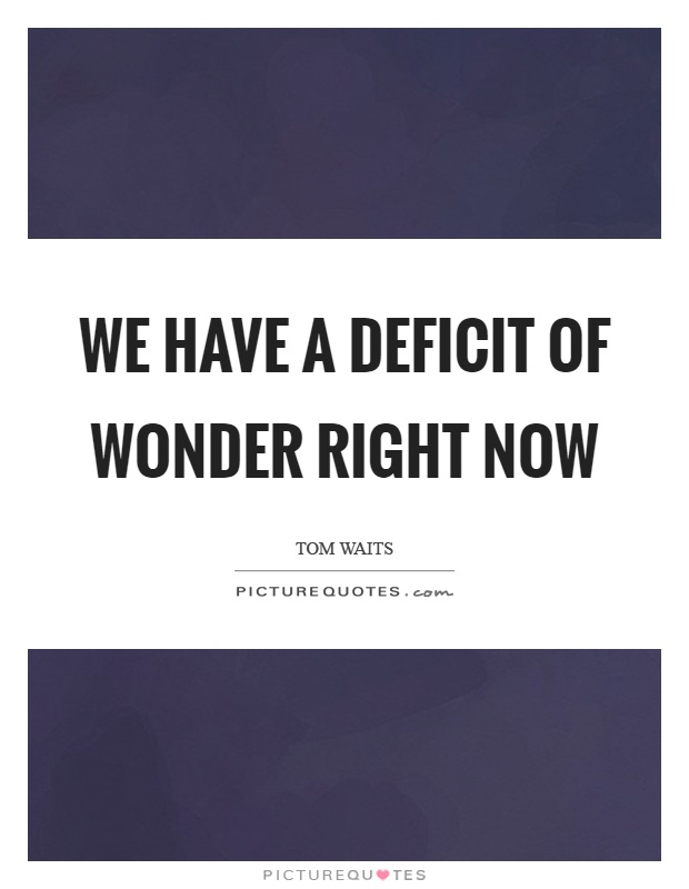 We have a deficit of wonder right now Picture Quote #1