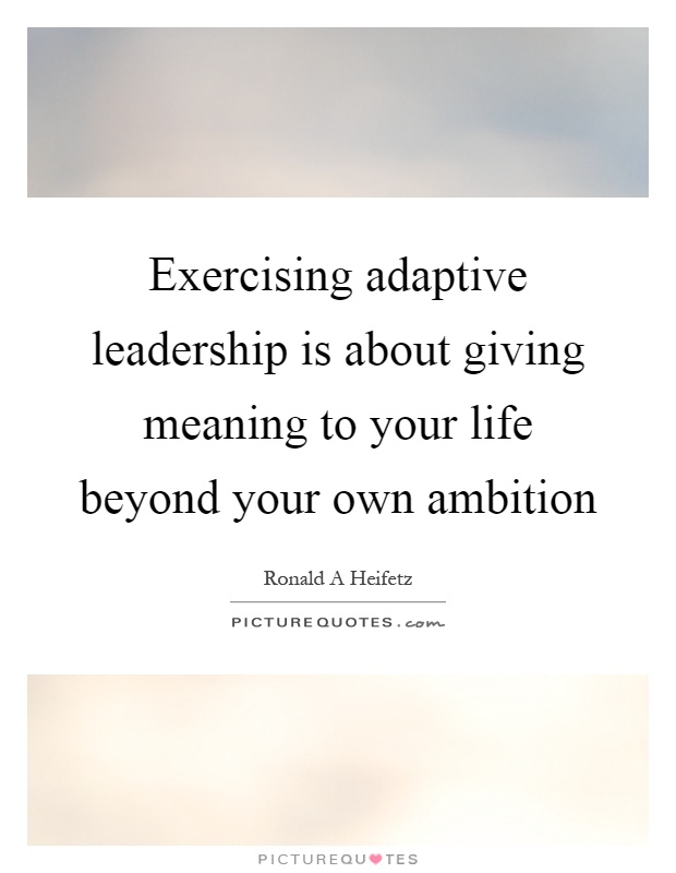 Exercising adaptive leadership is about giving meaning to your life beyond your own ambition Picture Quote #1