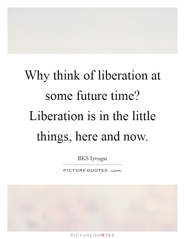 Why think of liberation at some future time? Liberation is in the little things, here and now Picture Quote #1