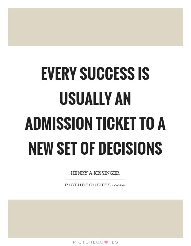 Every success is usually an admission ticket to a new set of decisions Picture Quote #1