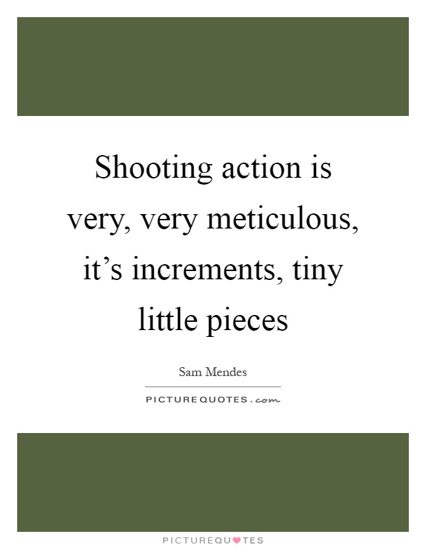 Shooting action is very, very meticulous, it's increments, tiny little pieces Picture Quote #1