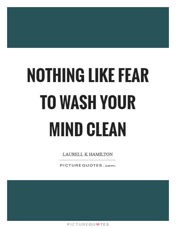 Nothing like fear to wash your mind clean Picture Quote #1