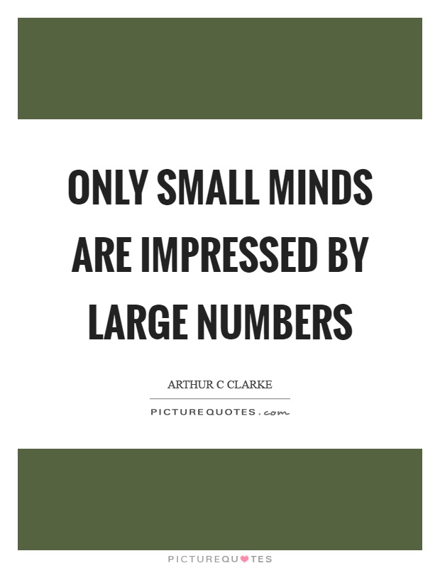 Only small minds are impressed by large numbers Picture Quote #1