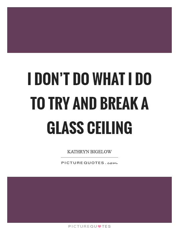 I don't do what I do to try and break a glass ceiling Picture Quote #1
